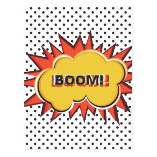 Boom Pop Art Comic Book explosion cartoon Postcard