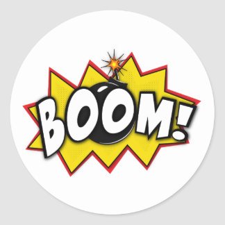 Boom Superhero Comic Action Words Classic Round Sticker