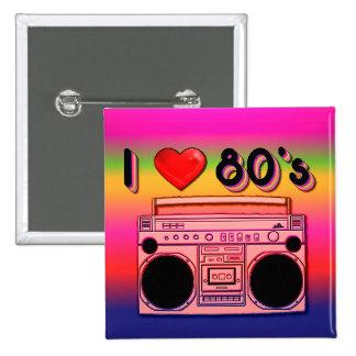 Boombox 80's Square Retro Button