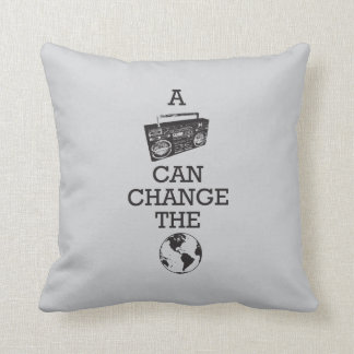 Boombox Can Change the World Throw Pillow