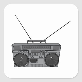 Boombox Ghetto Blaster Jambox Radio Cassette Square Sticker