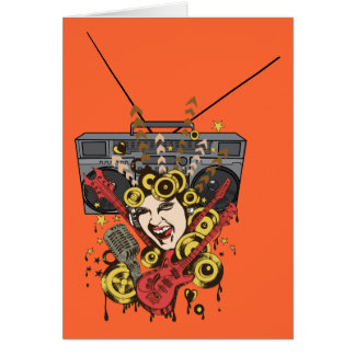 Boombox Girl ~ Retro Music Fantasy Art Greeting Card