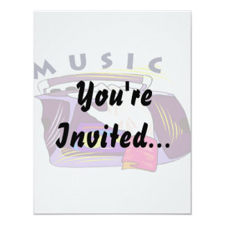 Boombox radio and hand graphic, word Music 11 Cm X 14 Cm Invitation Card