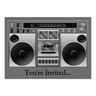 Boombox Radio Graphic 13 Cm X 18 Cm Invitation Card