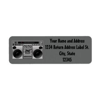 Boombox Radio Graphic Return Address Label