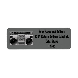 Boombox Radio Graphic Return Address Label