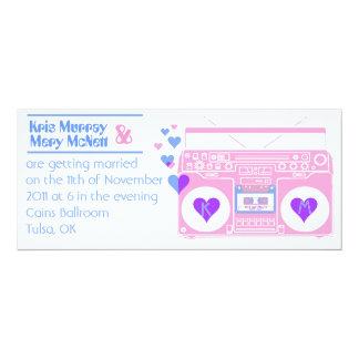 """Boombox Retro 4"""" X 9.25"""" Invitation Card"""