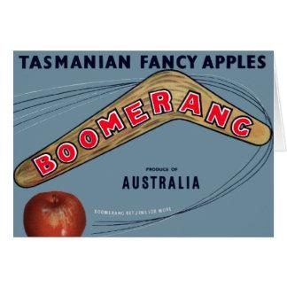 Boomerang Apples - Vintage Fruit Crate Label Greeting Card
