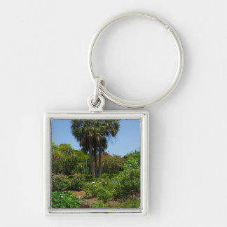 Boone Hall Garden Silver-Colored Square Key Ring