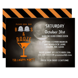 Boos and Booze Adult Halloween Party Graveyard Card