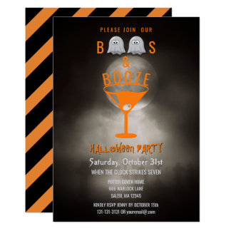 Boos and Booze Halloween Party Spooky Graveyard Card