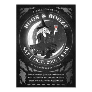 Boos & Booze Halloween Invitations | Black & White