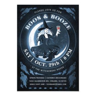 Boos & Booze Halloween Invitations | Blue