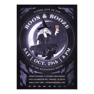 Boos & Booze Halloween Invitations | Purple
