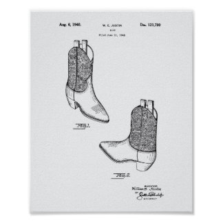 Boot 1940 Patent Art White Paper Poster