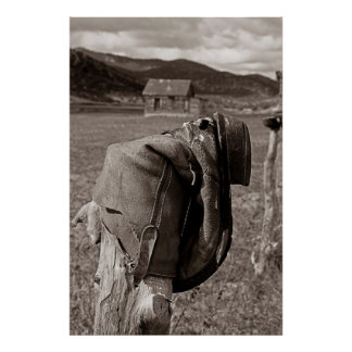 Boot on Fence Post Highway 50 Nevada Print
