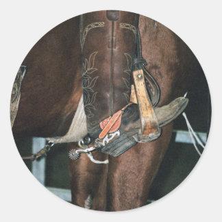 boot & spur classic round sticker