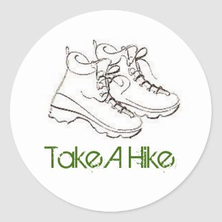 boot, Take A Hike Classic Round Sticker