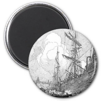 Booth's 1914 landscapes and boats 6 cm round magnet