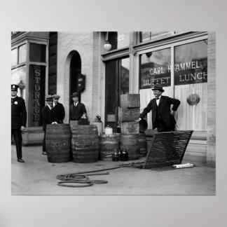 Bootleg Liquor Raid, 1923. Vintage Photo Poster