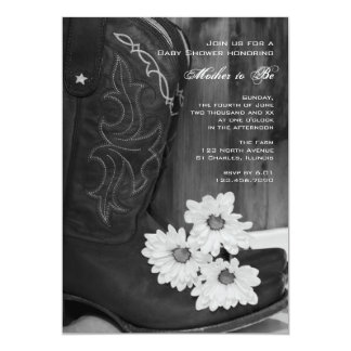 Boots and Daisies Country Baby Shower Invitation