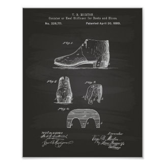 Boots and Shoes 1880 Patent Art Chalkboard Poster
