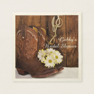 Boots, Daisies and Horse Bit Country Bridal Shower Disposable Serviette