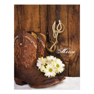 Boots, Daisies and Horse Bit Country Wedding Menu 21.5 Cm X 28 Cm Flyer