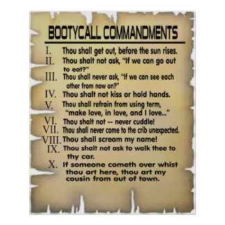 Booty Call Commandments. -- Poster