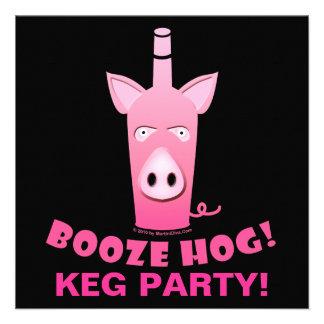 BOOZE HOG COCKTAIL KEG PARTY INVITATION