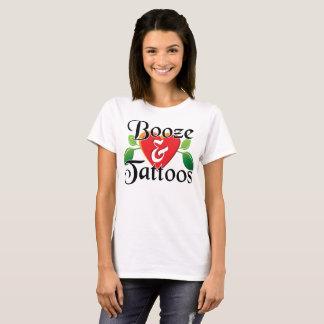 Booze & Tattoos-Black wording T-Shirt