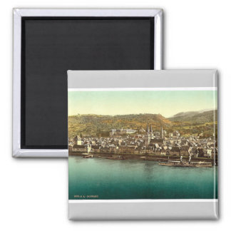 Boppard, the Rhine, Germany rare Photochrom Square Magnet