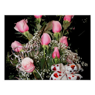 Boquet of pink roses red heart ribbon green stems print