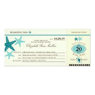 Bora Bora Bridal Shower Boarding Pass 10 Cm X 24 Cm Invitation Card