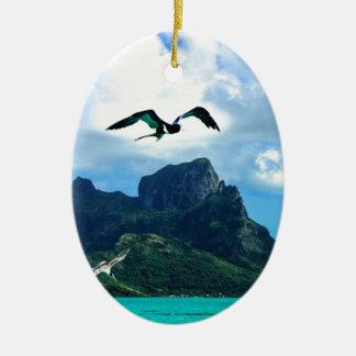 Bora Bora French Polynesia Tropical Bird Sky Ceramic Ornament