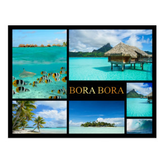 Bora Bora luxury collage postcard