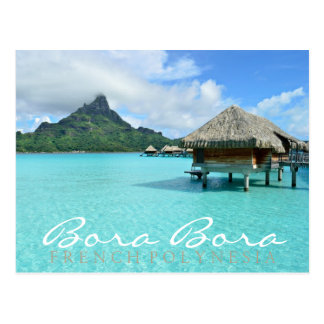 Bora Bora overwater resort double text postcard