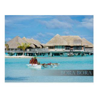 Bora Bora style breakfast service in canoe Postcard