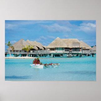 Bora Bora style breakfast service in canoe poster