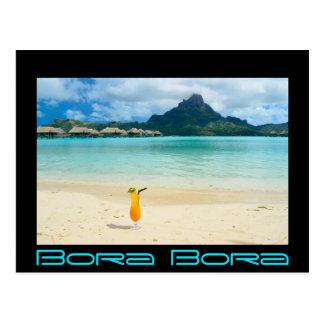 Bora Bora tropical cocktail postcard