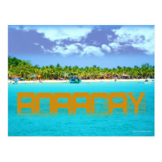 Boracay's Blue Waters, White Sand and Palm Trees Postcard