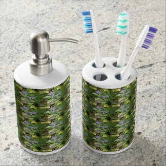 BORAGE Blue Pink Green --- ECHO PRINT. Soap Dispenser And Toothbrush Holder