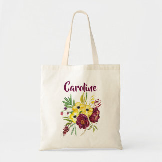Bordeaux and Yellow Peonies Watercolor Flowers Tote Bag