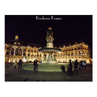 Bordeaux at night postcard