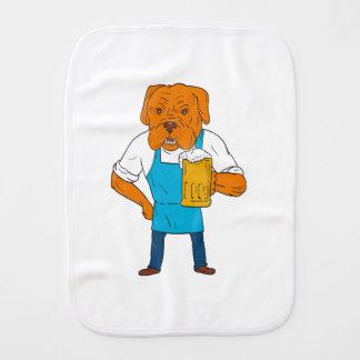 Bordeaux Dog Brewer Mug Mascot Cartoon Burp Cloth