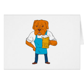 Bordeaux Dog Brewer Mug Mascot Cartoon Card
