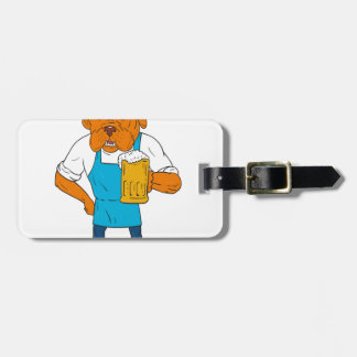 Bordeaux Dog Brewer Mug Mascot Cartoon Luggage Tag