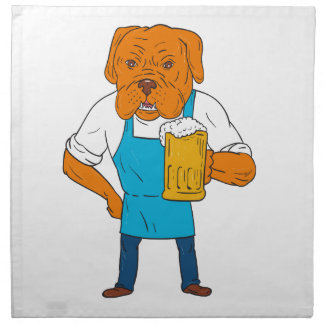 Bordeaux Dog Brewer Mug Mascot Cartoon Napkin