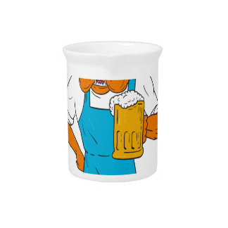 Bordeaux Dog Brewer Mug Mascot Cartoon Pitcher