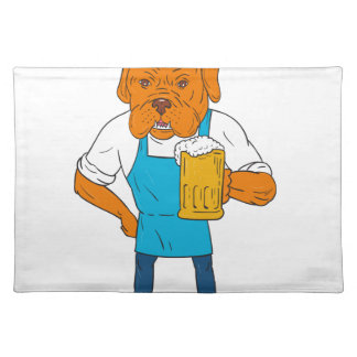 Bordeaux Dog Brewer Mug Mascot Cartoon Placemat
